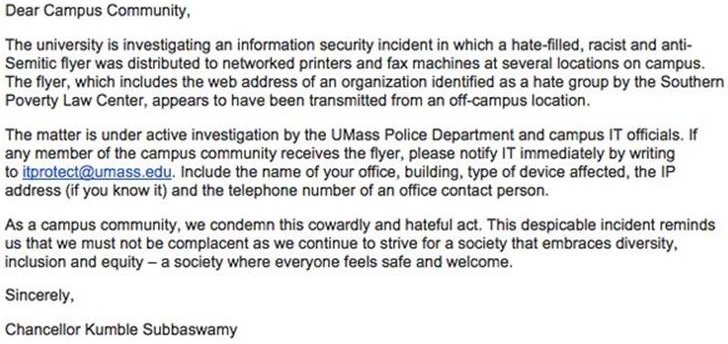 NEW: Hate group hacks #UmassAmherst printers. Sends racist and anti-Semitic fliers. More on #WBZ at 5 https://t.co/zLc5IW98zN