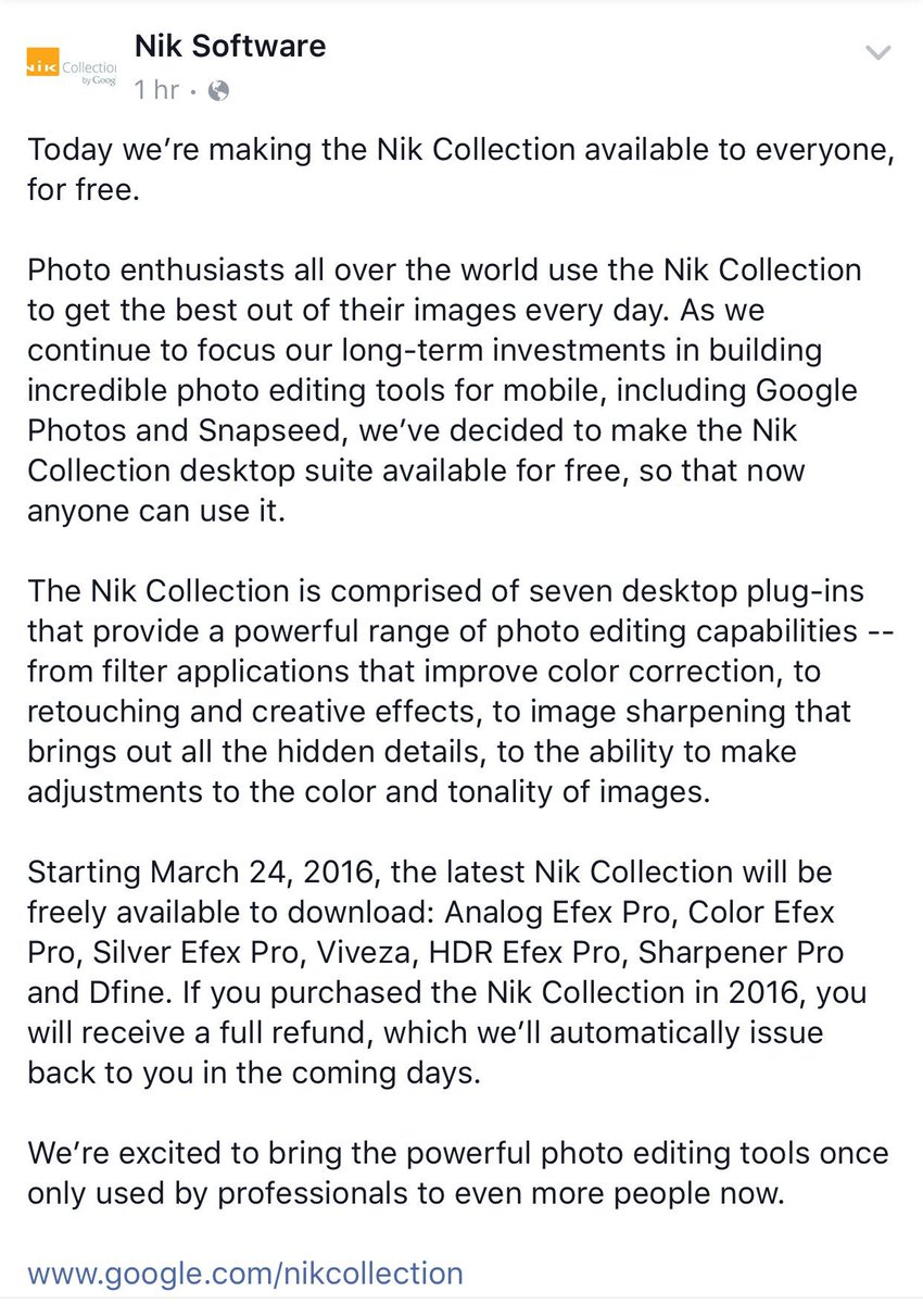 My all time fav suite of plugins- @nikcollection - is NOW FREE! Go to https://t.co/fZAQolgSVQ to download! https://t.co/9rbgpoTP3f