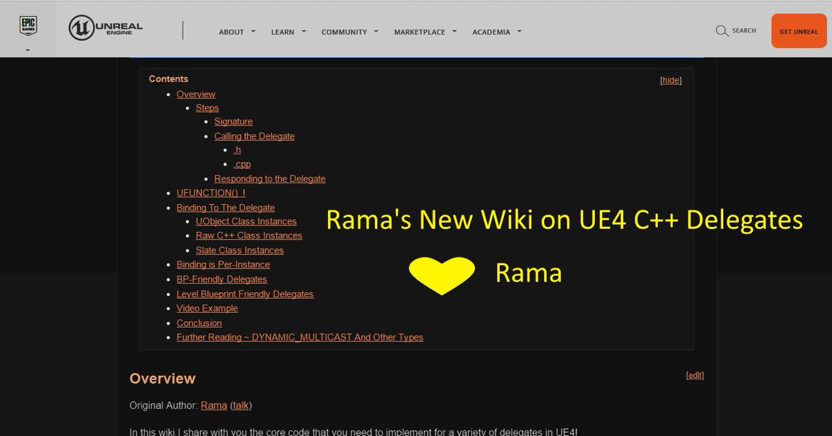 Rama iyer on twitter new ue4 wiki on c delegates create c and 307 pm 24 mar 2016 malvernweather Image collections