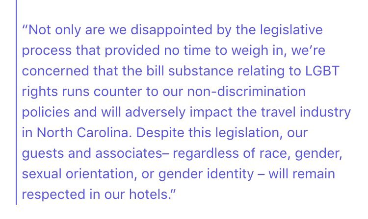 Statement from @Marriott on the new North Carolina anti-lgbt law that @PatMcCroryNC signed into law: https://t.co/ZI78nAVo3d