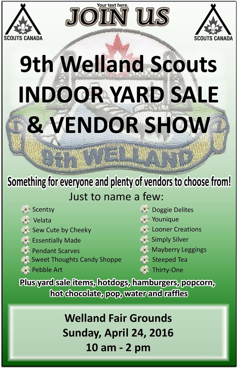 starla lazoren on twitter 9th welland scouts are hosting a vendor