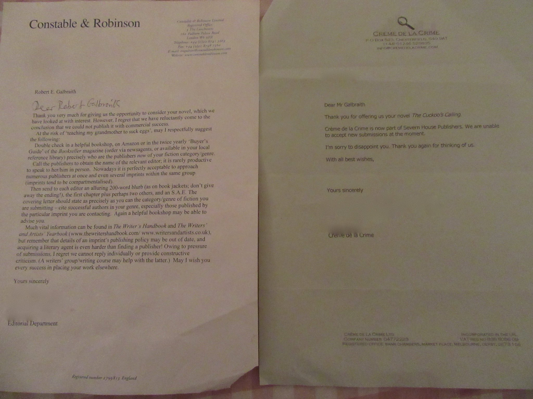 JK Rowling on Twitter By popular request 2 of RGalbraths – Rejection Letters