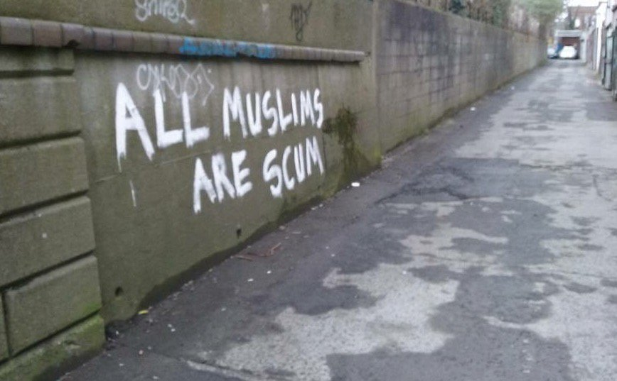 Anti Muslim graffiti went up in Dublin this week - quickly amended https://t.co/5cCcXMPl1c