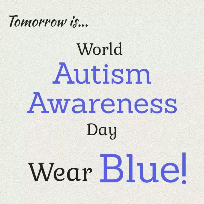 April 2 (tomorrow) is World #AutismAwareness Day - Wear blue to show your support! #LIUB https://t.co/jWCaYhjb54