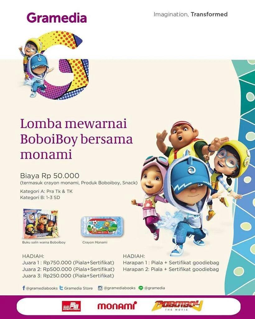 Gramedia Cibinong On Twitter H 1 Lomba Mewarnai Boboiboy Dan Meet