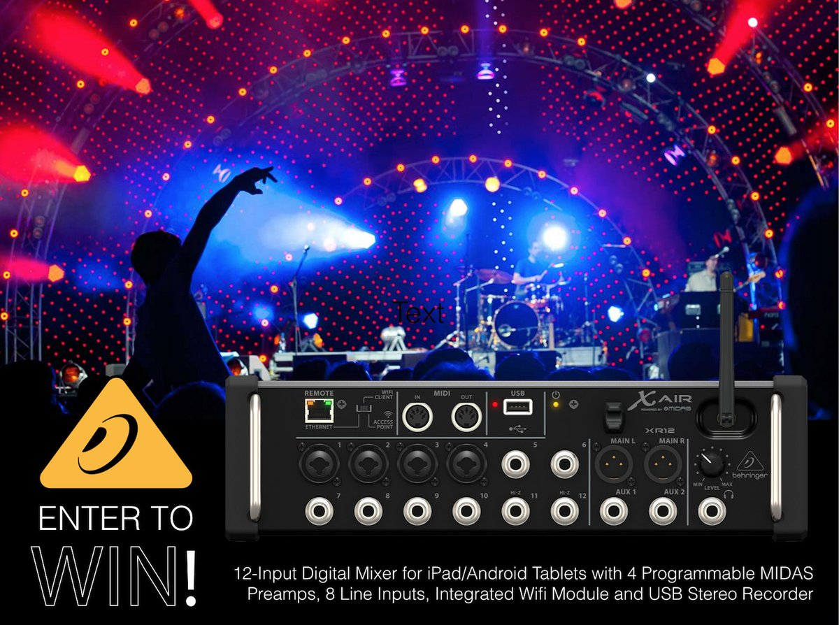 APRIL GEAR GIVEAWAY!! Enter NOW for your chance to WIN an X AIR - XR12 Digital Mixer! Click: https://t.co/9YjXwAcaEj https://t.co/Npo0b0Cngy