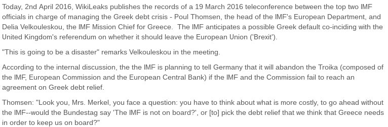 RELEASE: Confidential records show #IMF at war with #Merkel over #Greece https://t.co/DI5eiSN8Yl #Brexit #Refugees