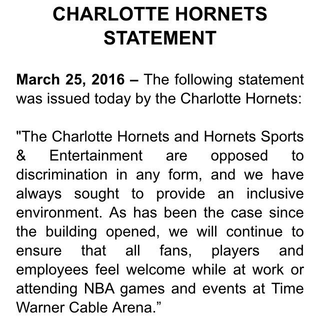 The Charlotte Hornets have issued the following statement: https://t.co/5IOzSjjncM