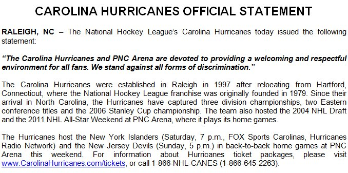 The Carolina Hurricanes have issued the following statement: https://t.co/vRTTQ7iOKq https://t.co/Efb7QMiLDH