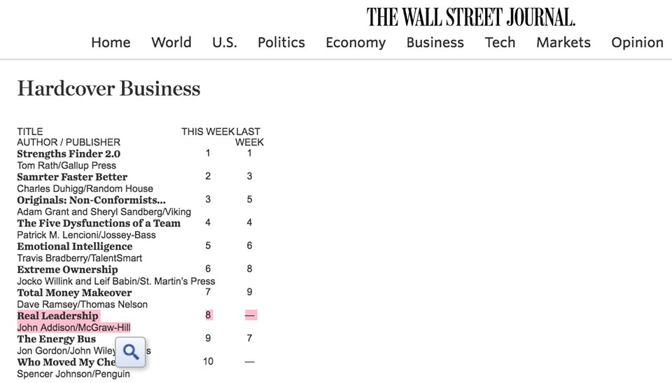 Congrats @JohnAddisonGA! #RealLeadership is #8 on @WSJ Hardcover Business List! https://t.co/MFG1pyD3qY https://t.co/e2X6od9d8o