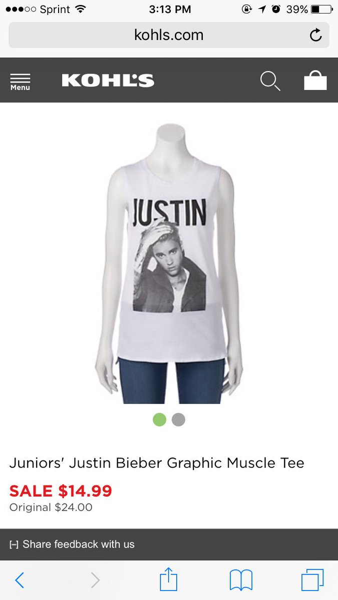 fa3607258 Also I went to Kohls earlier today and saw they had a Justin Bieber muscle  shirt for $15 if anyone is interested! :)pic.twitter.com/0QNqfhBBaW
