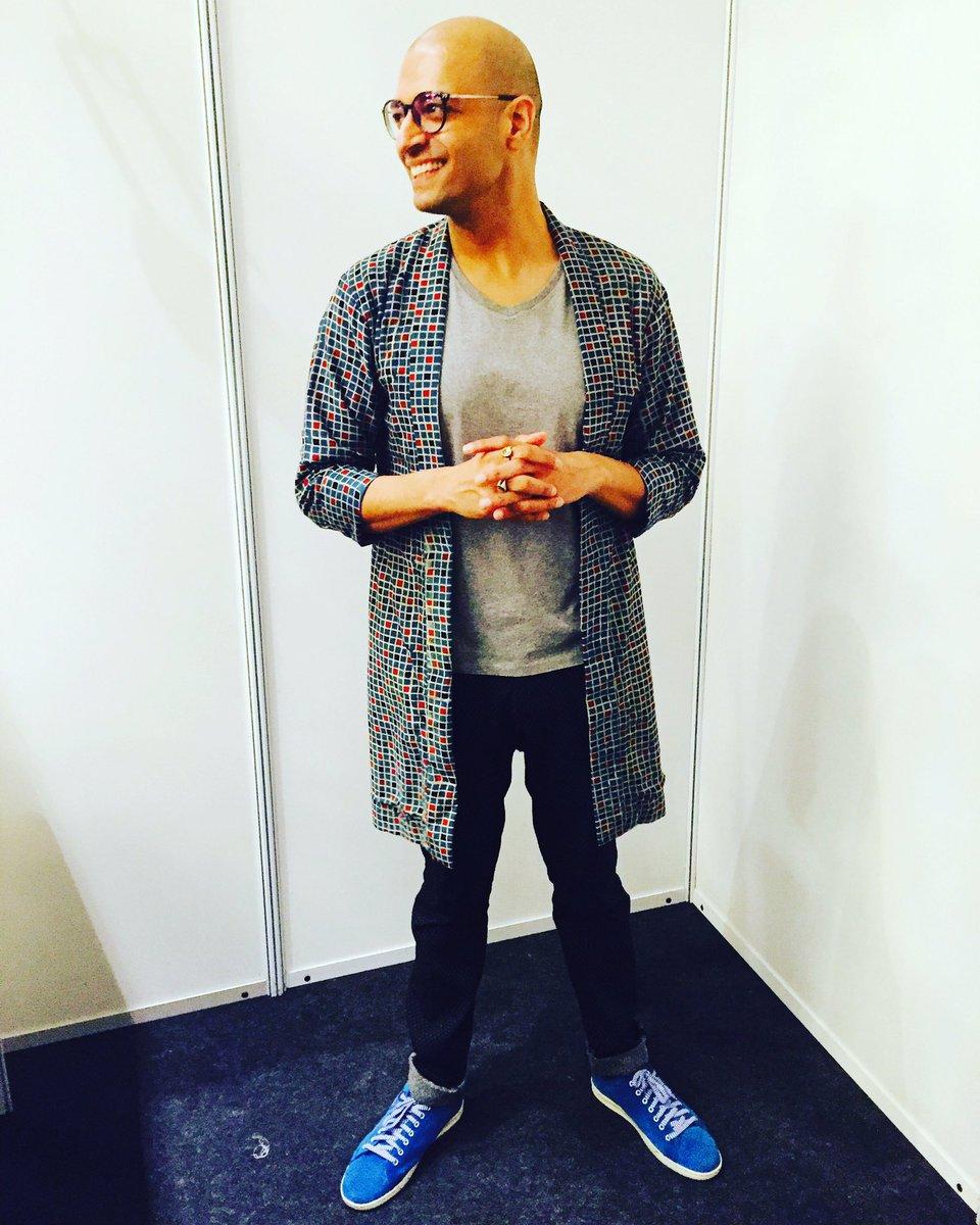 #MrGaba styled by #ManishaMelwani , #longjacket #designed by her, @ZARA #black #knitted #trousers & @Levis_IN #shoes
