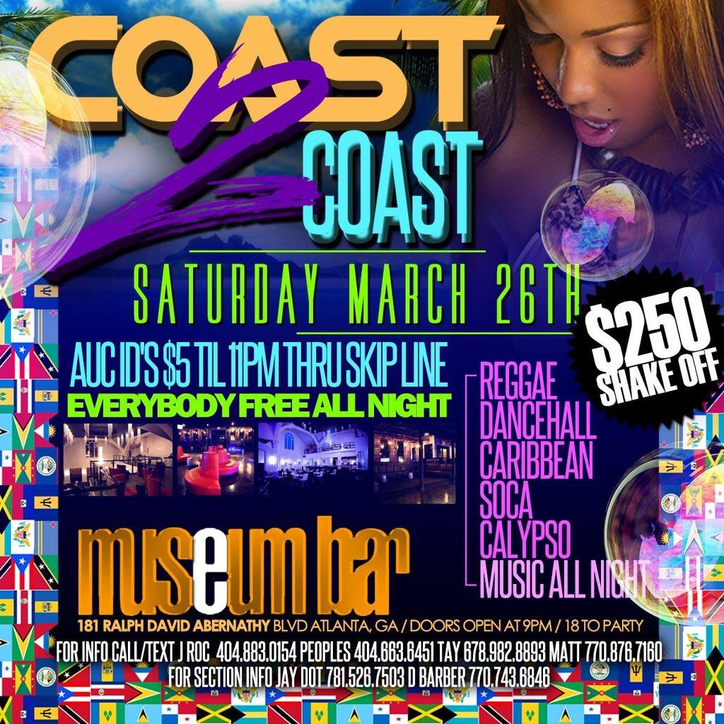 CALLING ALL PARTY PEOPLE Coast to Coast! Dance all night long! THIS SAT 3/26 EVERYBODY FREE ALL NIGHT! #museumbaratl https://t.co/HNwbkYhfcq