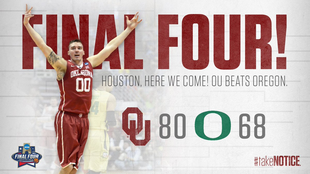 Houston, here we come!!!  #Sooners beat Oregon 80-68 to advance to #FinalFour https://t.co/Z4BDxVZkEa