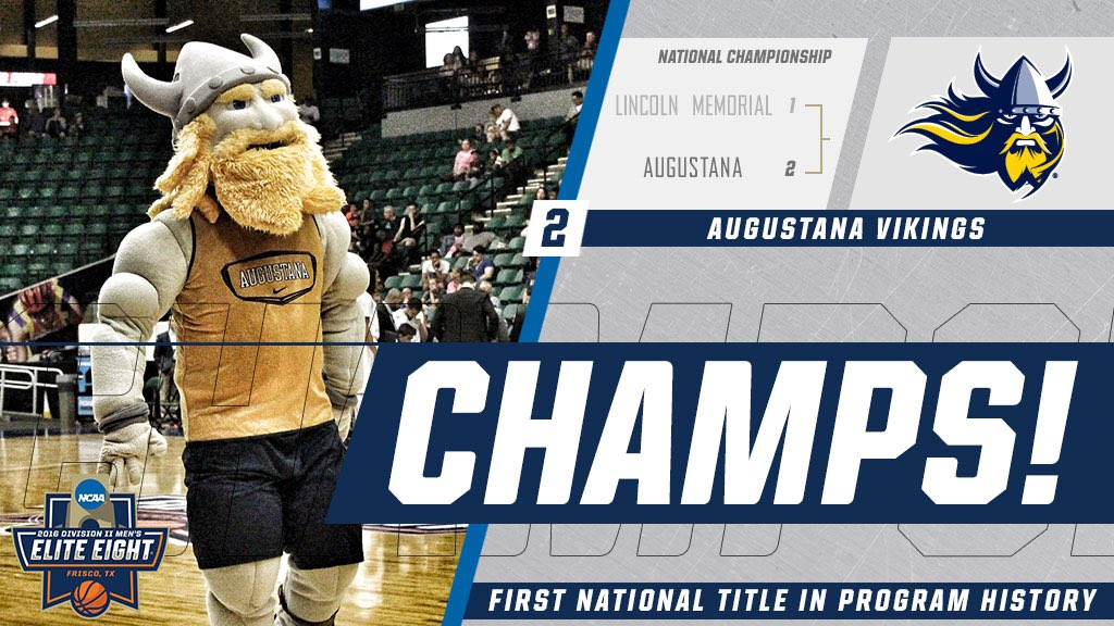 AUGUSTANA WINS! Vikings capture the 2016 #NCAAD2 Men's Basketball #NationalChampionship 90-81 over Lincoln Memorial! https://t.co/gI7EE9dWiD