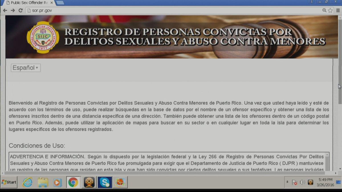 Departamento de justicia de puerto rico registro de ofensores sexuales