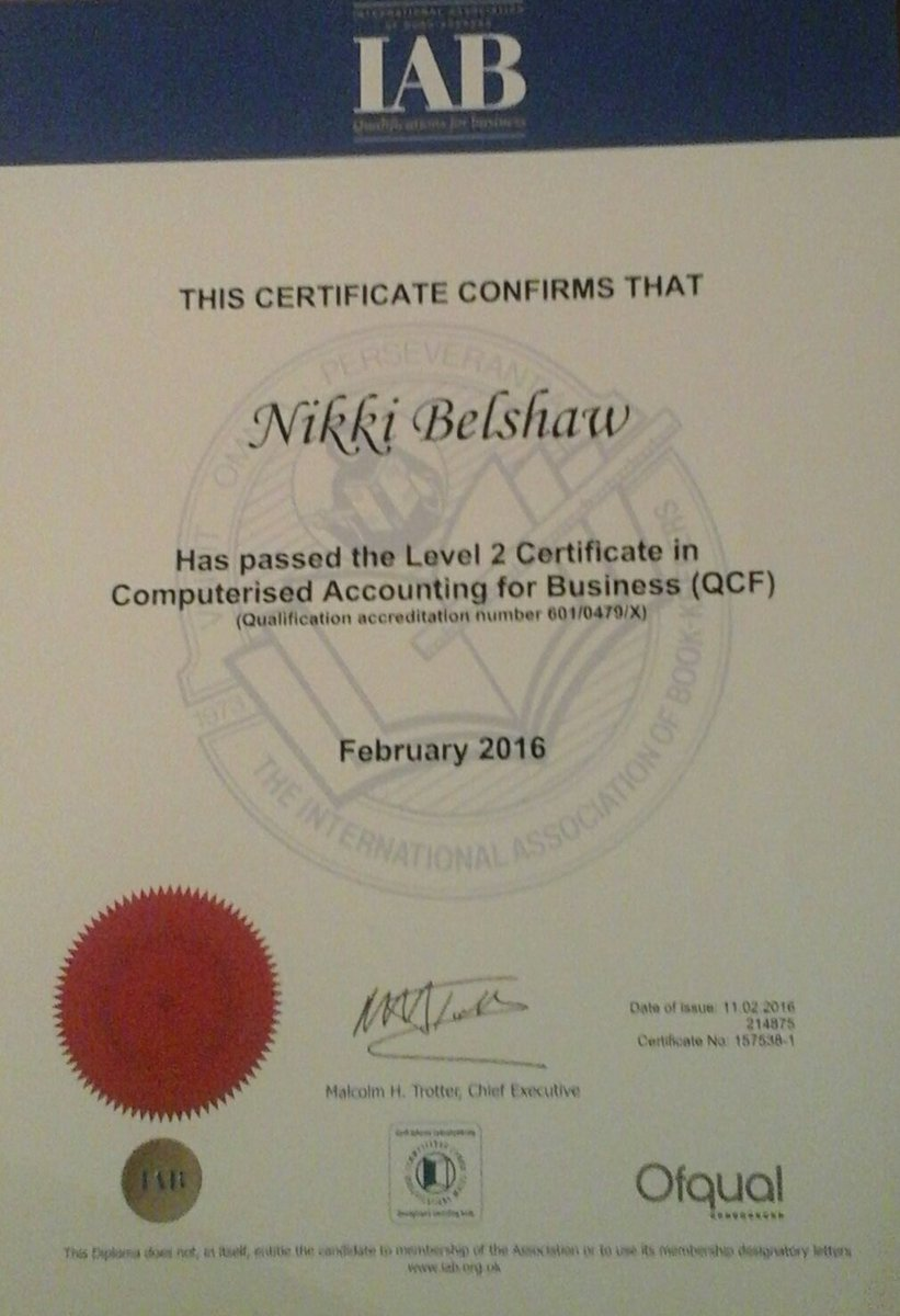 Nikki belshaw aiab on twitter passed my level 2 certificate in nikki belshaw aiab on twitter passed my level 2 certificate in accounting for business with the international association of bookkeepers iabinfo xflitez Images