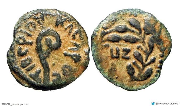 Leptón de Herodes el Grande con águila. Hacia 4 a.C CehNSZtWwAAnntX
