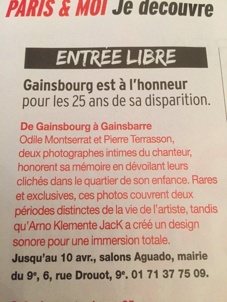 #Version #Femina ce matin  #Exposition de #Gainsbourg à #Gainsbarre jusqu'au 10 avril #Mairie9Paris #photopic.twitter.com/8ztegqEAbQ