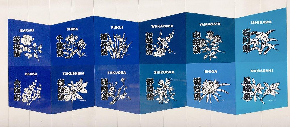 銀座歩いてたら、工事現場の壁がめっちゃ可愛くて必死で撮影した…47都道府県の県花とか、この配色とグラデーション具合がすごいツボだよ~~~
