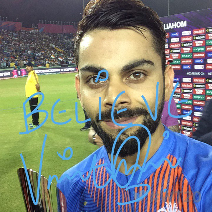 Here's the #TwitterMirror for the Player of the Match! He says #Believe Virat Kohli take a bow!! #WT20 #INDvAUS