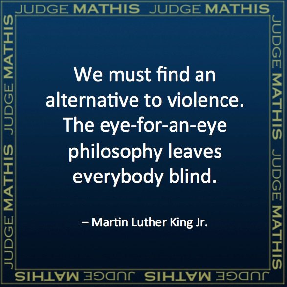 We must find an alternative to violence. The eye-for-an-eye philosophy leaves everybody blind. - MLK Jr. #Quote https://t.co/nwcjShPmcr