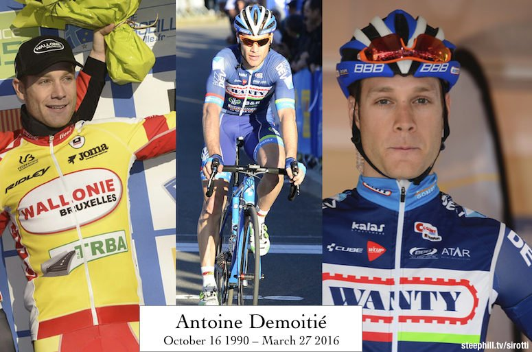 Very sad news. Antoine Demoitié has died in hospital after being hit by a race motorcycle during Gent-Wevelgem. https://t.co/ku9GTpA2uc