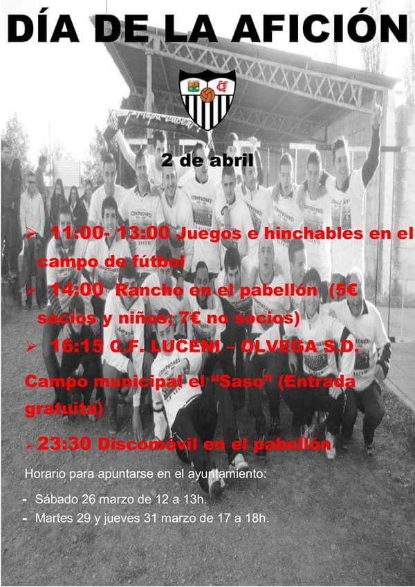 ¿Quieres pasar un buen día con el equipo de tu pueblo? Este sábado 2 celebramos EL DÍA DE LA AFICIÓN. #aupaluceni