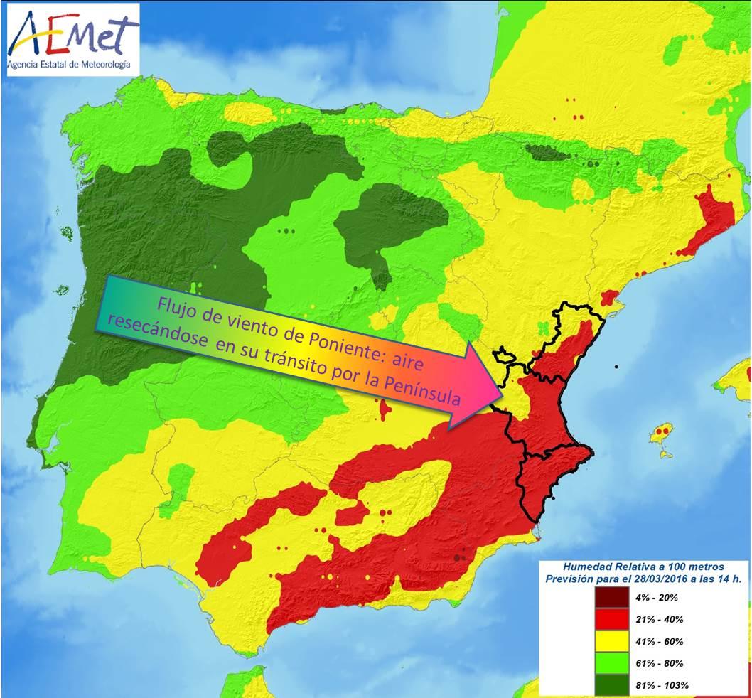 Aemet c valenciana aemet cvalencia valencia espa a - Humedad relativa espana ...