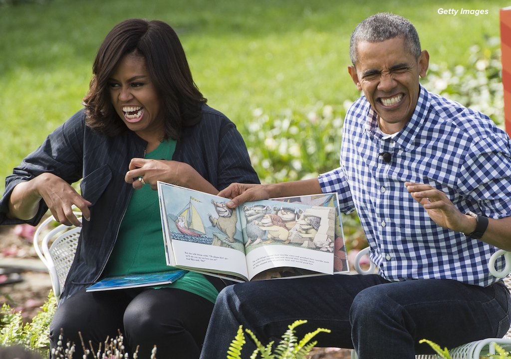 """The Obamas read 'Where The Wild Things Are"""" to kids at the White House Easter Egg Roll on Monday"""