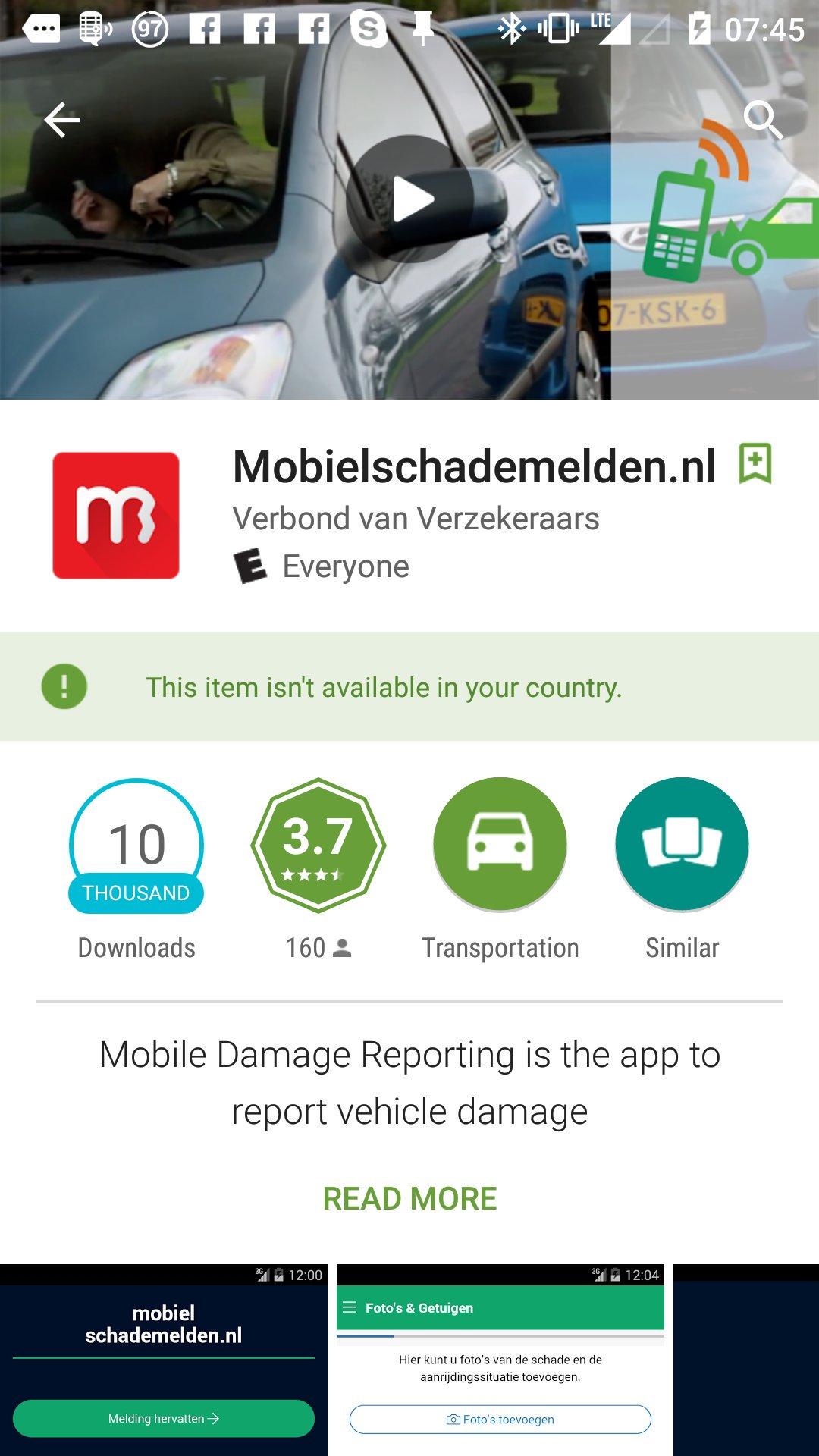 MobielSchadeMelden app installeert niet