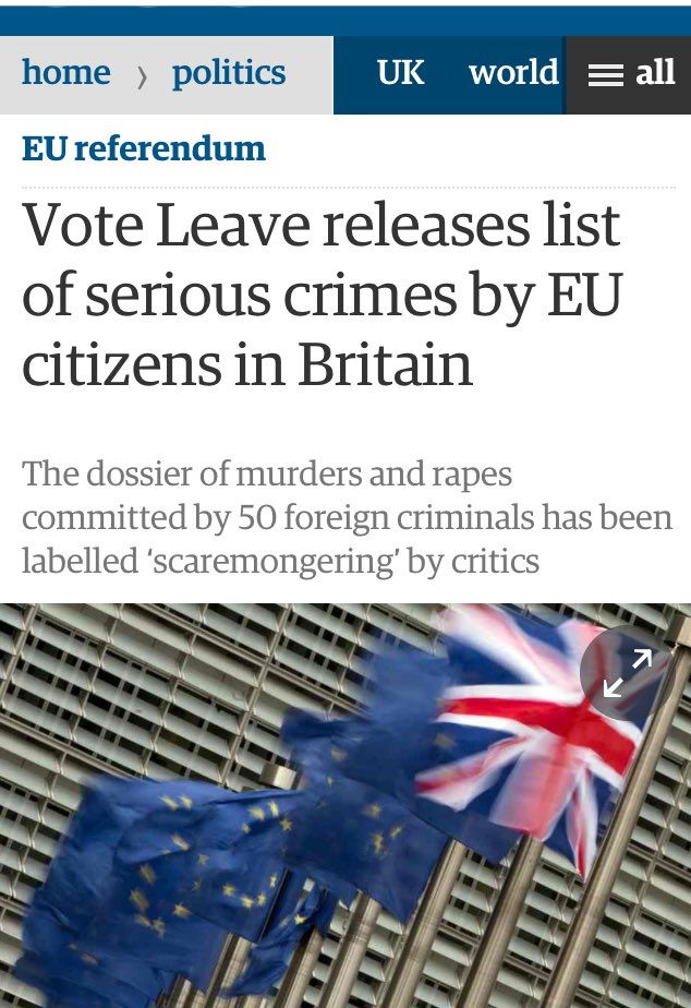 "Vote Leave: ""Remain have nothing to offer but Project Fear and here's a list of 50 murderers/rapists from the EU"" https://t.co/u7nhyQ9Cgh"