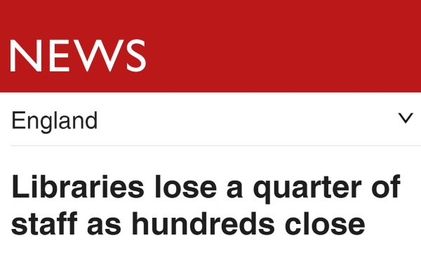 Government estimate of closed libraries: 110. Actual number: 343. https://t.co/Ev8CJkIQAE #SaveLibraries https://t.co/73dKrZi4YG