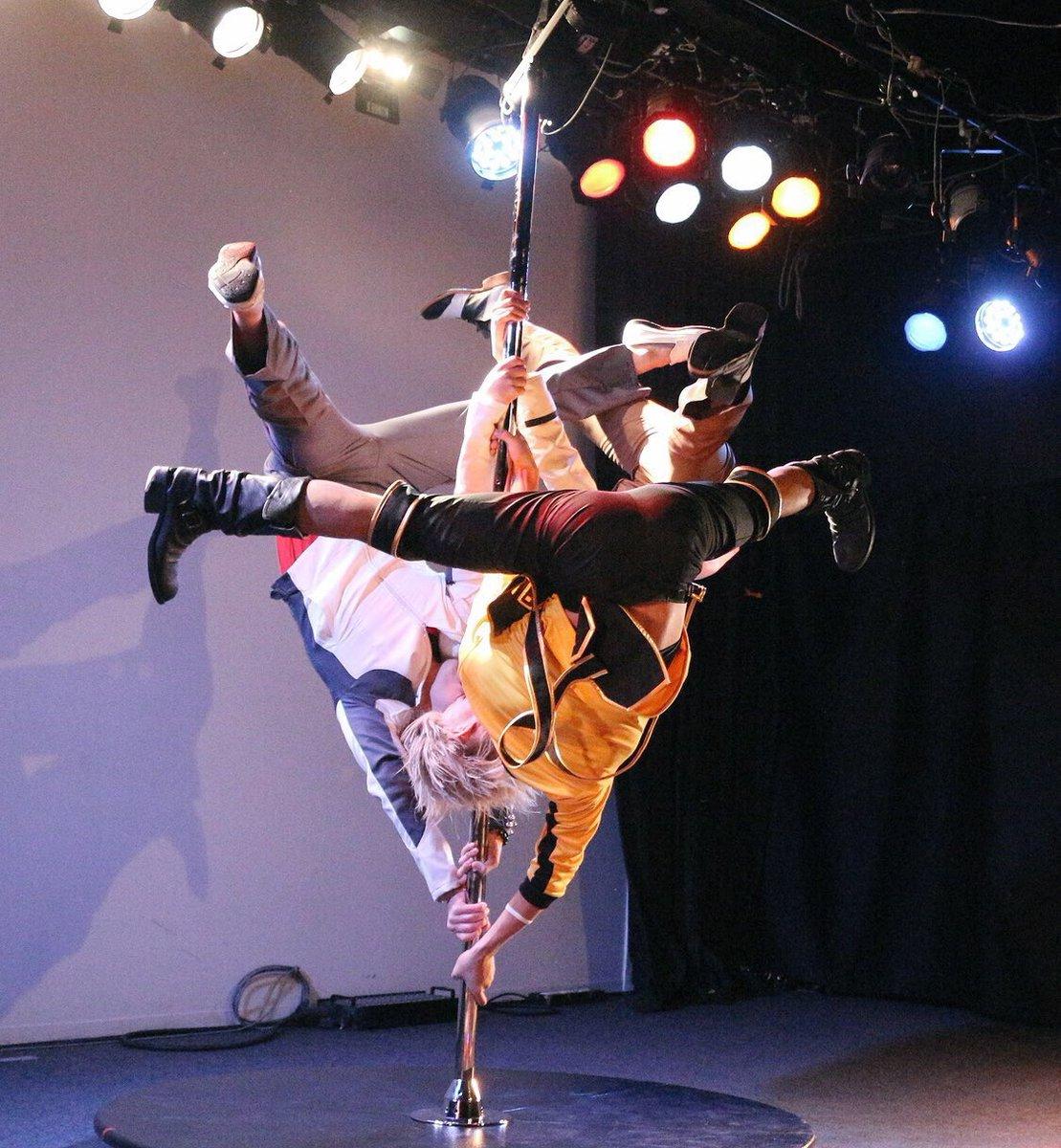 クレイジーマーブルナイトのタイバニライジングポールの演目の画像頂いたのでちょこっとアップ! @kizika_uzuraさんに撮って頂きました♩  #くれま #タイバニ #ポールダンス #虎徹さん #バニーちゃん #ライアン #バディ