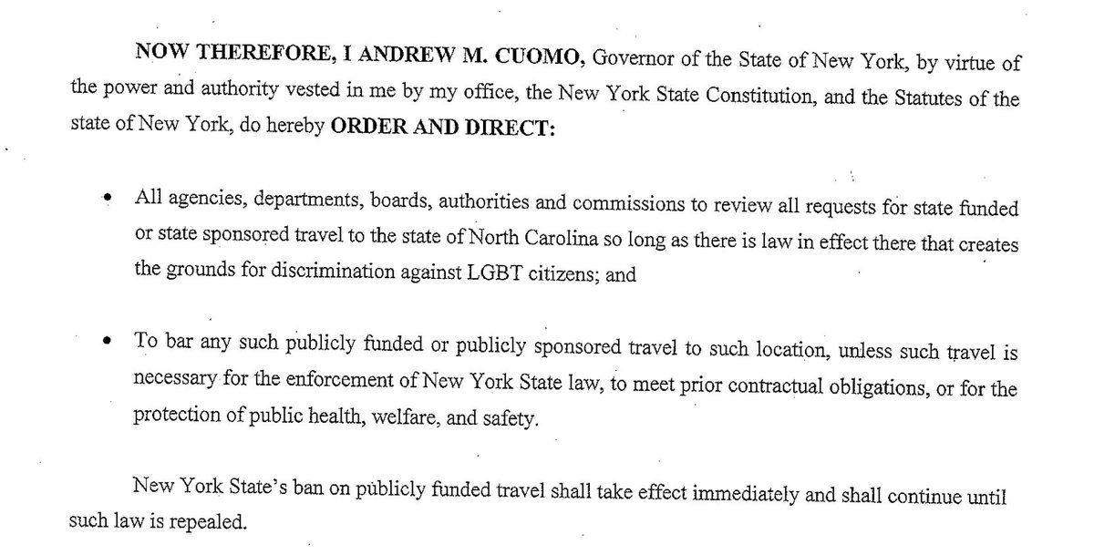 .@NYGovCuomo's exec order (story here: https://t.co/6foG4HvgRC ) restricting state-sponsored travel to NC over #HB2 https://t.co/GJzC43Qjgu