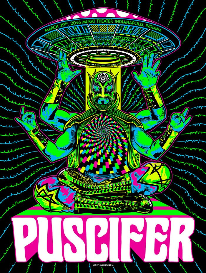 I created the poster for tonight's @puscifer show! Exclusive foil variants avail-Beam me up! https://t.co/RgmrQoXJpG https://t.co/oQPZfaUFFr