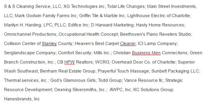 List of businesses supporting #HB2 released by @NCValues. Biggest is Hanesbrands.  Also: God's Glorious Girls #ncpol https://t.co/1OKcu5samN