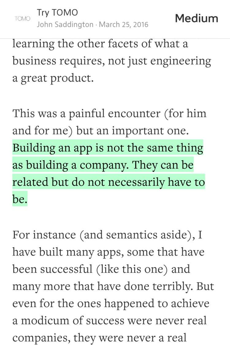 """Building an app is not the same thing as building a company.""—@8BIT https://t.co/Qa5aII3EpB https://t.co/QLd8T7bixy"
