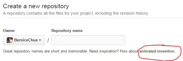 Screenshot Of GitHub's name suggestion.