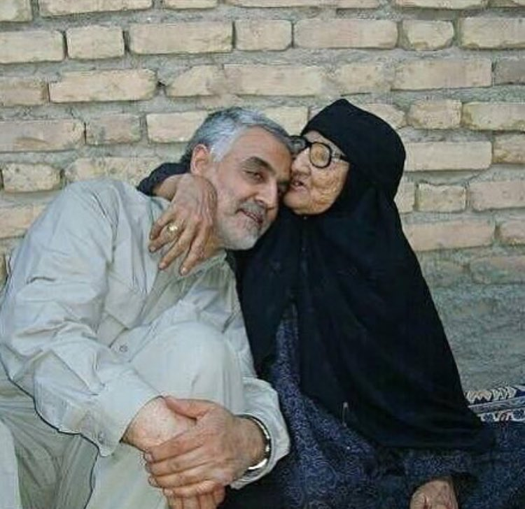 Photo of #iran's #irgc commander qasem soleimani and his mother.