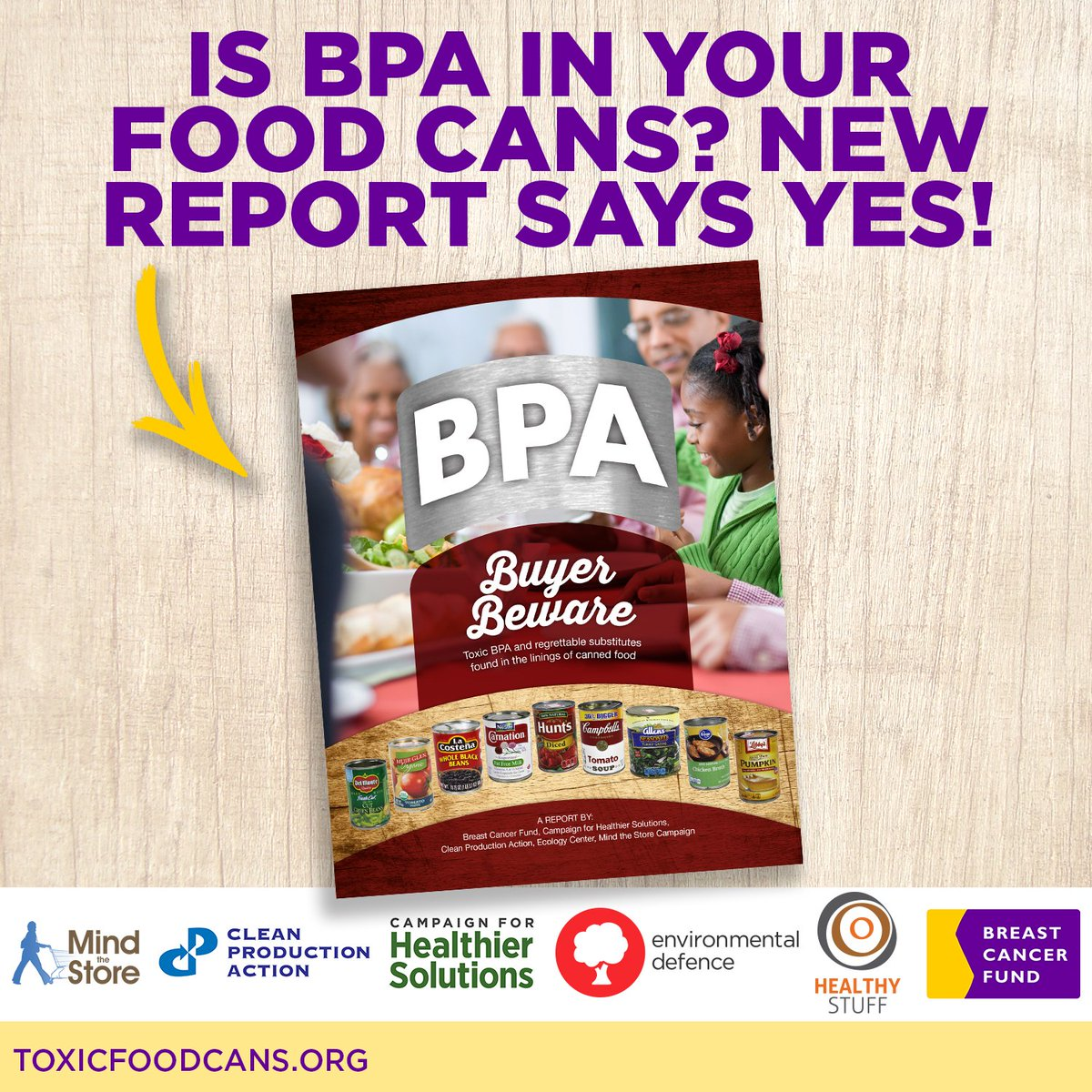 BREAKING: New report finds #BPA in 67% of food cans tested.  Read the report: https://t.co/bIa3qv2FwU #ToxicFoodCans https://t.co/EYPaJ09Kgc