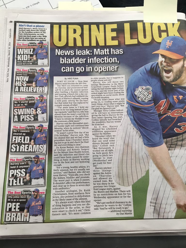 The @nypost had so many Matt Harvey bladder headline ideas that they mocked up front pages for all of them. https://t.co/DZsmuC7vMX
