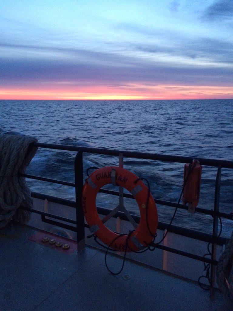 Watching the sunrise from the @LakeGuardian - almost finished sampling Lake Huron #SpringSurvey2016 https://t.co/dSC3IhPBIt
