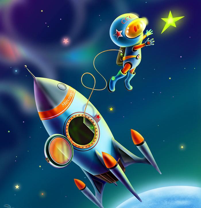 Картинки к дню космонавтики для детей дошкольного возраста, открытки