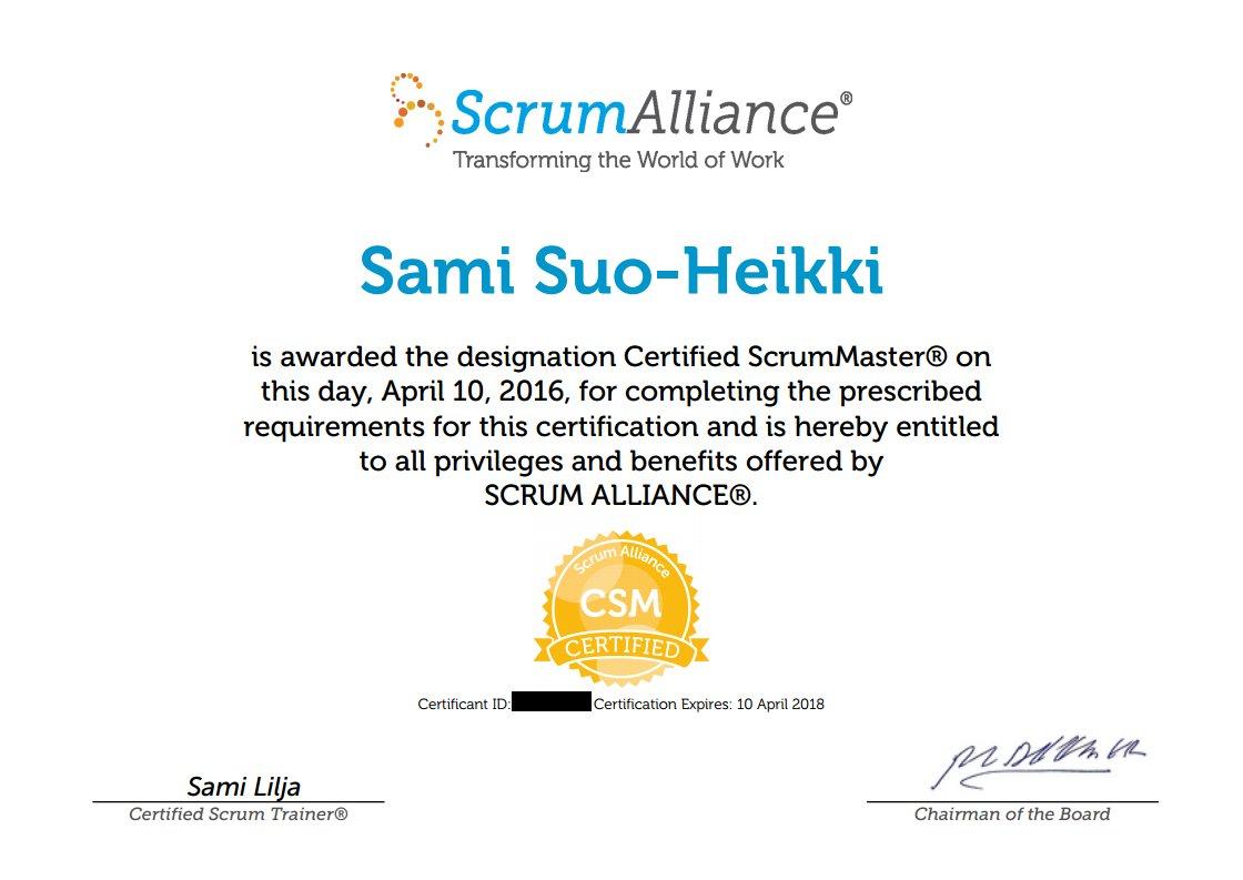 Sami Suo Heikki On Twitter Boom Im Now A Certified Scrum Master