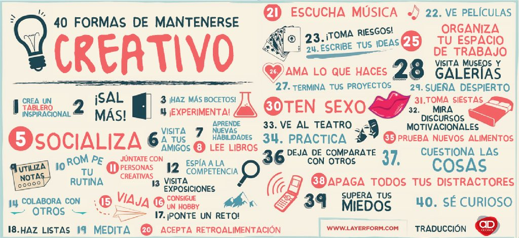 40 formas de mantenerse creativo, por @IsmaelPascual_ en su blog https://t.co/1kHVE4WcCJ https://t.co/1qp8z33urj
