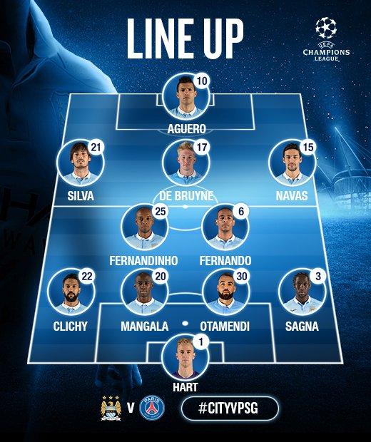 Starting XI's: Man City v PSG - Yaya Toure on the bench ...