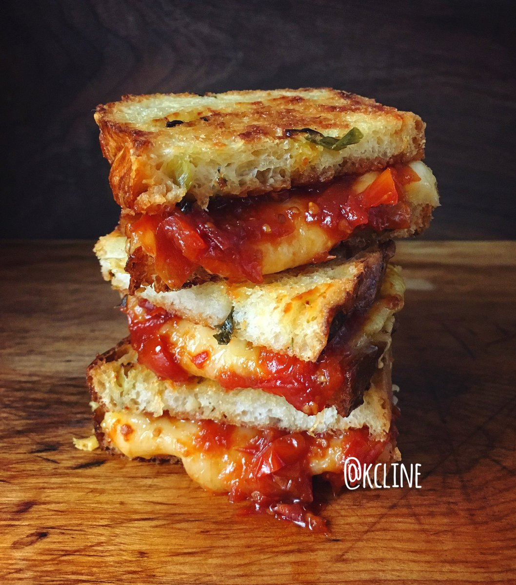 Happy #NationalGrilledCheeseDay! Here's my Cheddar, Swiss & Tomato Jam on homemade Cheesy Scallion Bread https://t.co/n8iP8ma4zQ