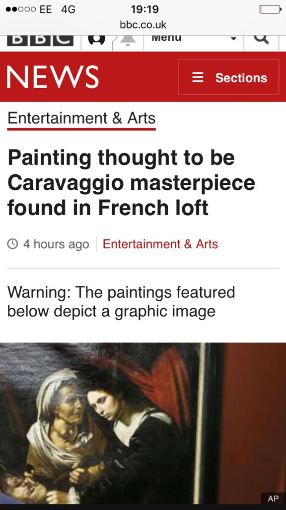 "The BBC news website is worried that you might be ""triggered"" by an oil painting from 1599 https://t.co/dGNLsGnEXx"