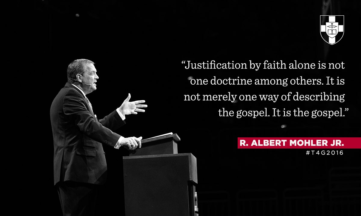 """""""Justification by faith alone is not one doctrine among others...It is the gospel."""" — @albertmohler #T4G2016 https://t.co/In27NFKuNk"""